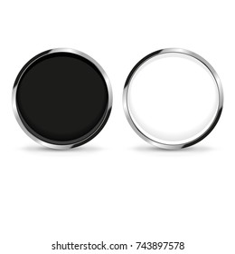 Round black and white web button isolated on a white background