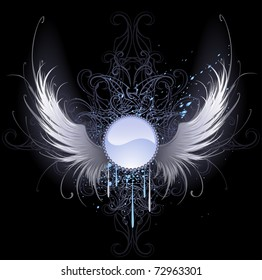 round blue banner with artistically painted white angel wings on a black background decorated with a pattern and blue paint.