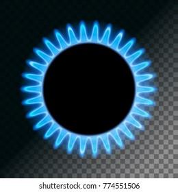 Round blue flame. Burner plate on a transparent background. Stock vector illustration.