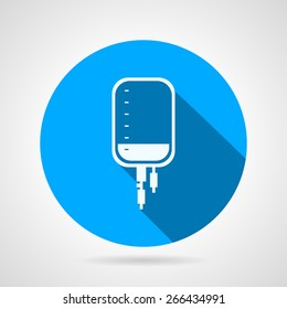 Round blue flat vector icon with white silhouette medical dropper with liquid on gray background. Long shadow design