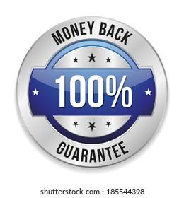 Round blue hundred percent money back badge on white background