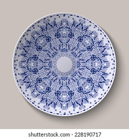 Round blue lacy delicate floral pattern. Stylized Chinese style painting on porcelain. The ornament shown on the ceramic dish. Vector illustration