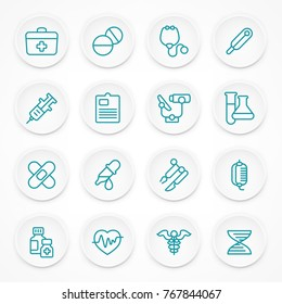 Round blue medical icons on white, medicine symbols in circle, medical vector illustration