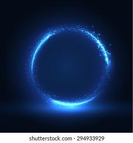 Round blue shiny frame background. Technology background. Vector eps10.