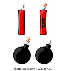 Round bomb and dynamite with fire isolated on white background. Explosion. Danger weapon. Vector cartoon design