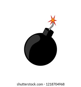 Round bomb with fire isolated on white background. Explosion. Danger weapon. Vector cartoon design