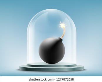 Round bomb with a wick under a glass dome. Cold war and disarmament. Vector illustration.