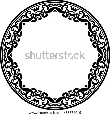 round border crown ornate stock vector royalty free 668674015
