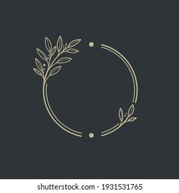 Round botanical frame element with laurel. Simple contour vector illustration for packaging, corporate identity, labels, postcards, invitations.