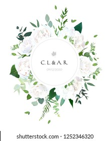 Round botanical vector design frame. White rose, hydrangea, eucalyptus, ranunculus, emerald and mint greenery, green plants and herbs.Wedding natural invite card.All elements are isolated and editable