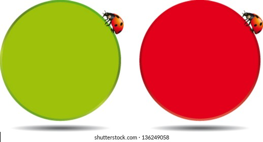 Round box in two colors with ladybug