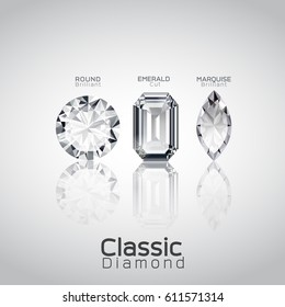 round brilliant, emerald cut, marquise brilliant classic diamond gem jewelry vector