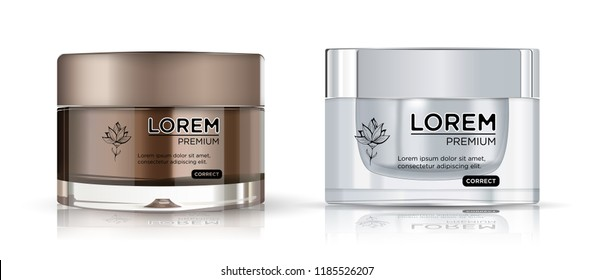 Round brown and silver plastic jar cosmetics set - body cream,  butter, scrub, bath salt, gel, skin care, powder. Realistic packaging mockup template.  Side view. Vector illustration.