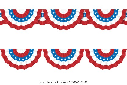 Round bunting decoration, for american Independence day celebration. Vector