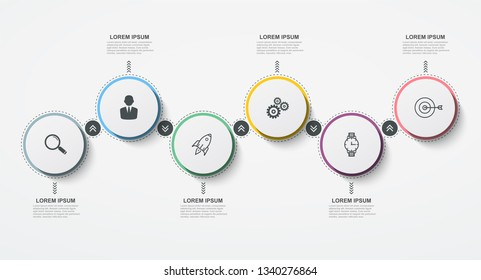 Round business infographic timeline with 6 options or steps. Vector illustration for presentations and reports, digital marketing, info graph, workflow layout.