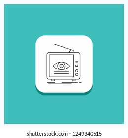 Round Button for Ad, broadcast, marketing, television, tv Line icon Turquoise Background
