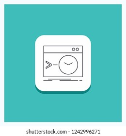 Round Button for Admin, command, root, software, terminal Line icon Turquoise Background
