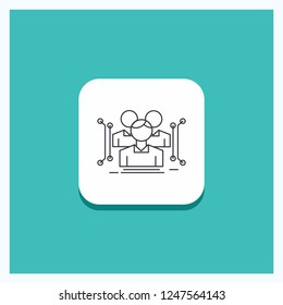 Round Button for Anthropometry, body, data, human, public Line icon Turquoise Background