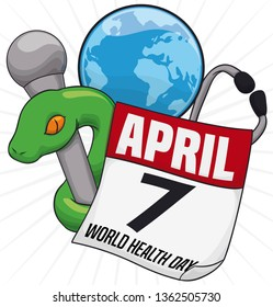 Round button with Asclepius Rod, stethoscope, globe and reminder calendar to celebrate World Health Day this 7th April.
