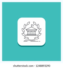 Round Button for bank, banking, online, university, building, education Line icon Turquoise Background