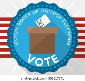 Round button with cardboard ballot box design to improve the electoral participation in the next U.S.A. elections in flat style.
