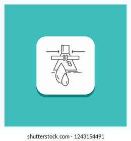 Round Button for Chemical, Leak, Detection, Factory, pollution Line icon Turquoise Background