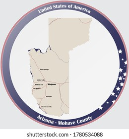 Round button with detailed map of Mohave County in Arizona, USA.