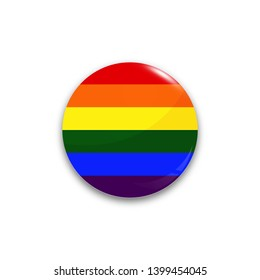 Round button flag of LGBT with the reflection of light and shadow realistic. Vector illustration.