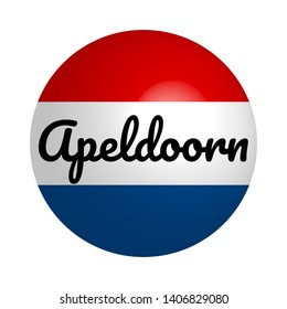 Round button Icon of national flag of Netherlands with inscription of city name: Apeldoorn in modern style and reflection of light. Vector EPS10 illustration