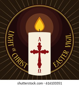 Round button with lighted Paschal candle decorated with a cross design for Easter Vigil event in flat style.