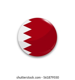 Round button national flag of Bahrain with the reflection of light and shadow realistic. Icon country.
