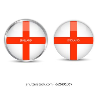 Round button national flag of england.