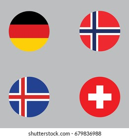 Round button national flag of Germany, Norway, Iceland, Switzerland Country europe flag icon