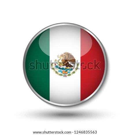 468e8823f004 Round button national flag of Mexico with the reflection of light and shadow.  Icon country