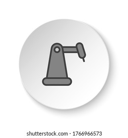 Round button for web icon, hydraulic arm, industrial arm. Button banner round, badge interface for application illustration