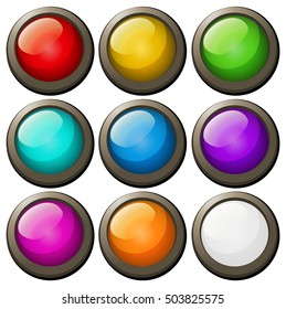 Round buttons in different colors illustration