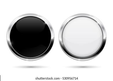 Round buttons with metal frame. Black and white shiny 3d icons. Vector illustration isolated on white background