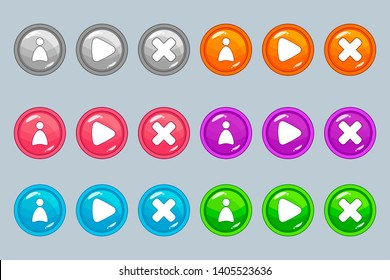 Round buttons (orange, pink, green, blue, gray, purple) with user icons, games, cross (exit) for the design of the interface of games and applications.