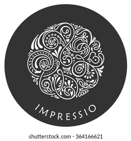 Round calligraphic emblem. Vector floral symbol for cafe, restaurant, shop, print, stamp. Logo design template label for coffee, tea, mug, business card. Isolated ornament
