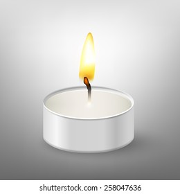 Round candle. Tea or floating candles in an aluminum sleeve. Vector EPS10 illustration.