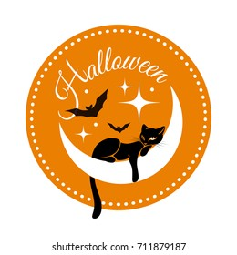 Round card for Halloween with black cat on crescent moon with bats and stars on the orange background