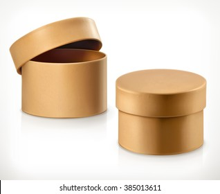 Round cardboard box, vector