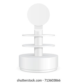 Round Cardboard Floor Display Rack For Supermarket Blank Empty With Shelves. Illustration Isolated On White Background. Ready For Your Design. Product Advertising. Vector EPS10