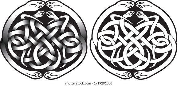 Round celtic design with snakes isolated on white, vector illustration