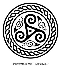 Round Celtic Design, triskele and celtic pattern, isolated on white, vector illustration