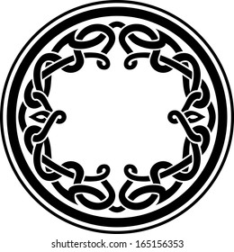 Round Celtic Ornament Intertwined pattern illustration derived from my hand drawn sketch.