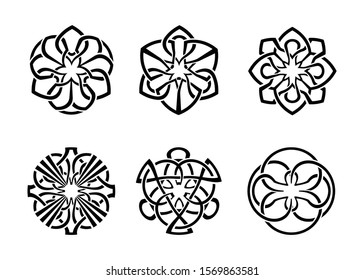 Round Celtic Ornament Intertwined tattoo vector illustration. decorative Celtic knots and curls set.