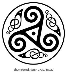 Round Celtic, Scandinavian  Design, isolated on white, vector illustration