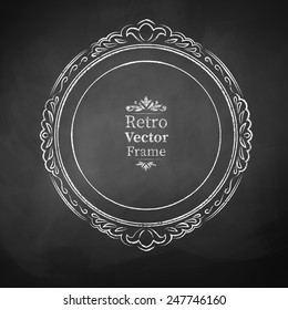 Round chalked vintage baroque frame. Vector illustration. Isolated.