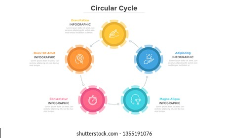 Round chart with 5 colorful circular elements connected by lines, linear pictograms and text boxes. Advantages of company. Infographic design layout. Vector illustration for brochure, presentation.
